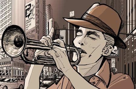 jazz: Illustration of a trumpeter in a New York street