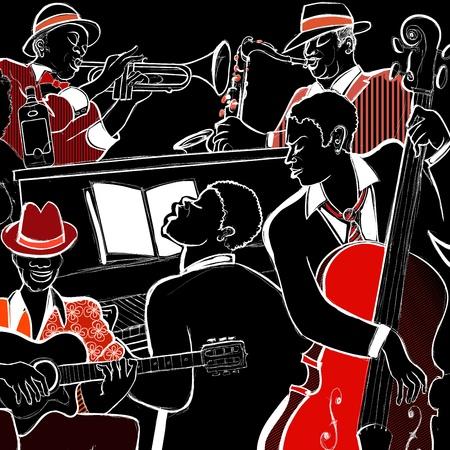 Illustrazione di una jazz band