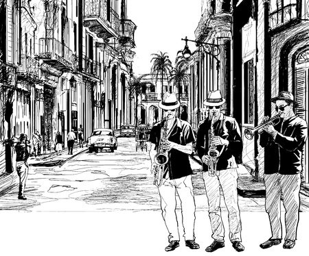 Illustration of a jazz band in a street of Cuba Vector