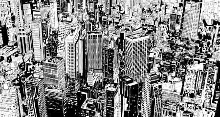 panoramic view: illustration of an aerial view of a fictional modern city with skyscrapers and street.