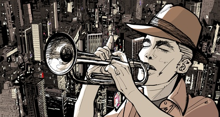 trumpeter: Illustration of a trumpeter over a cityscape background