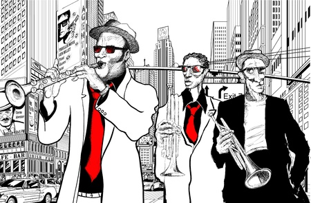 Illustration of a jazz band in a street of new-York Vector
