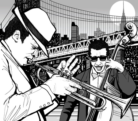 Illustration of jazz musicians in New york