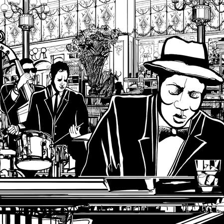レストランでピアノ ジャズ バンドのイラスト  イラスト・ベクター素材