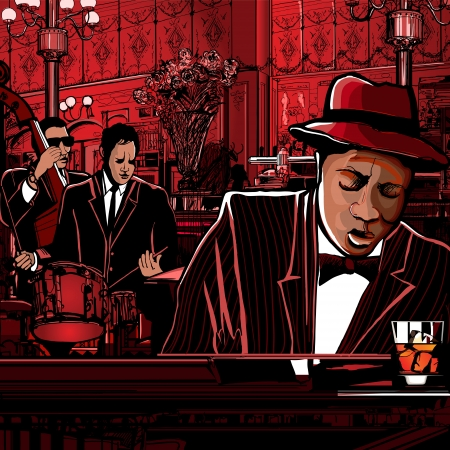 soul music: Illustration of a piano-Jazz band in a restaurant
