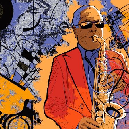 Illustration of a saxophonist on a grunge background Illusztráció