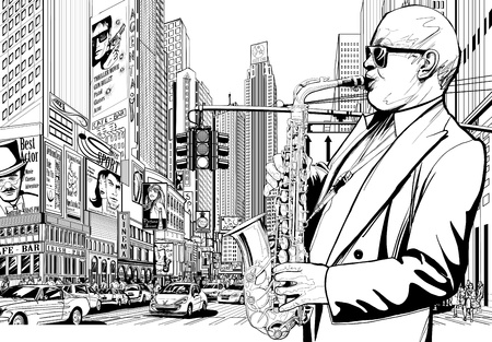 saxofon: Ilustración vectorial de saxofonista en una calle de Nueva York