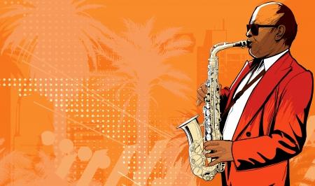 Illustration of saxophone player in a street  Illusztráció