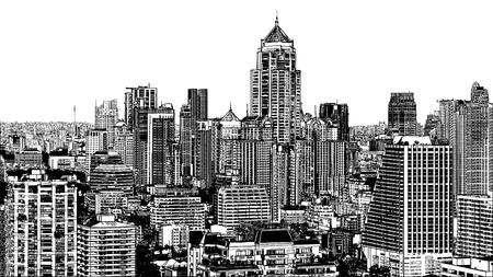 近代的なバンコク アソーク付近のパノラマの景色の図  イラスト・ベクター素材