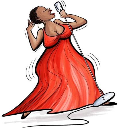 Illustratie van een Afro-Amerikaanse jazz-zangeres Stock Illustratie
