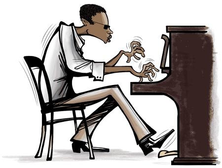tocando piano: Ilustración de un joven músico africano tocando el piano-jazz Vectores
