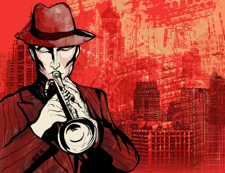 Illustration of a trumpet player over a cityscape grunge background