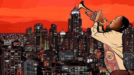 city man: Illustration of a trumpet player over a modern city background
