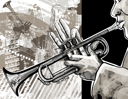 Illustration of a trumpet player over a modern city background