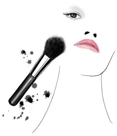 apply: Illustration of woman applying makeup