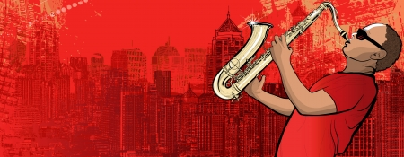playing music: Illustration of a saxophonist on a grunge cityscape background Illustration