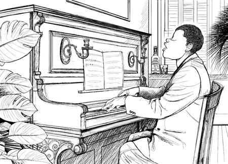 blues music: Illustration of a jazz ragtime pianist Illustration