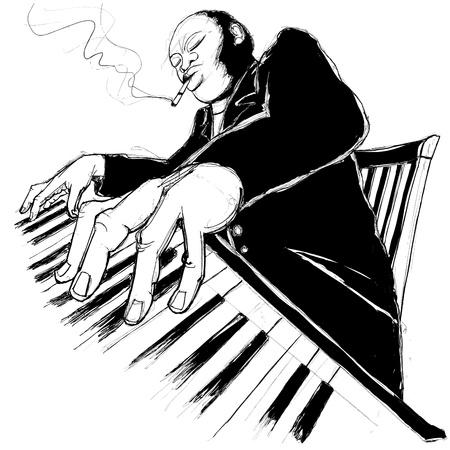 pianist: Illustration of a jazz ragtime pianist Illustration