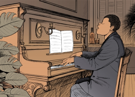 Illustration of a jazz ragtime pianist Vector