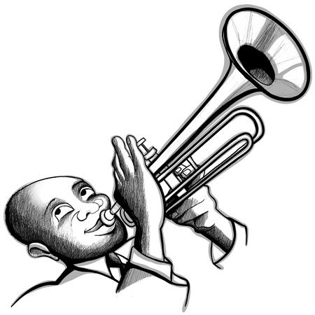 jazz musician: Illustration of a trumpet player Illustration