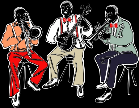 trombon: Ilustración de una banda de Jazz