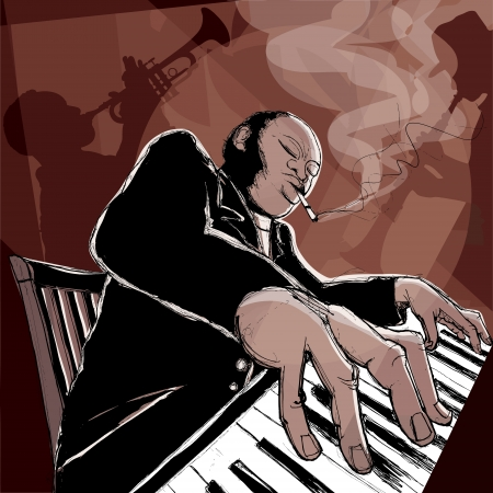 pianista: Illustrazione di una band jazz in un night club