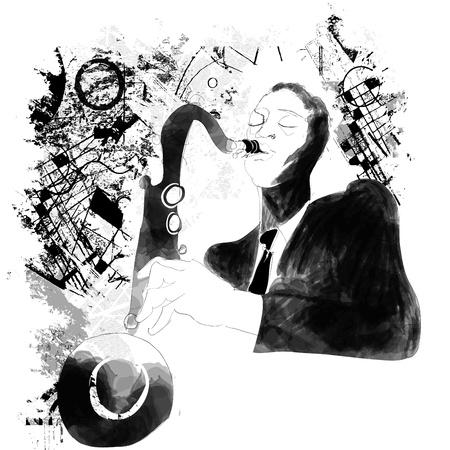 saxophonist: a saxophonist on a grunge background Illustration