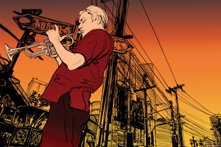 trumpeter: Illustration of a trumpeter on a  cityscape background Illustration