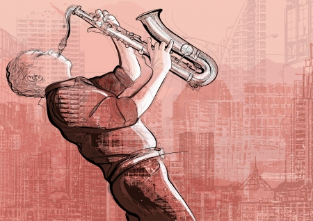 saxophonist: Illustration of a saxophone player in a street  Illustration