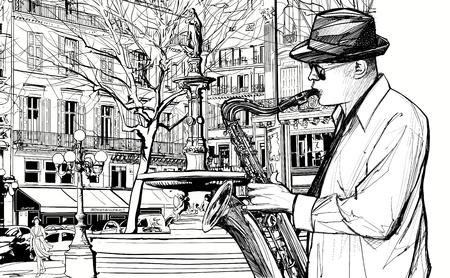 パリのストリートでサックスを演奏のサクスホーン奏者のイラスト