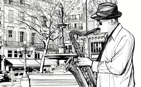 saxophonist: illustration of saxophonist playing saxophone  in a street of Paris Illustration