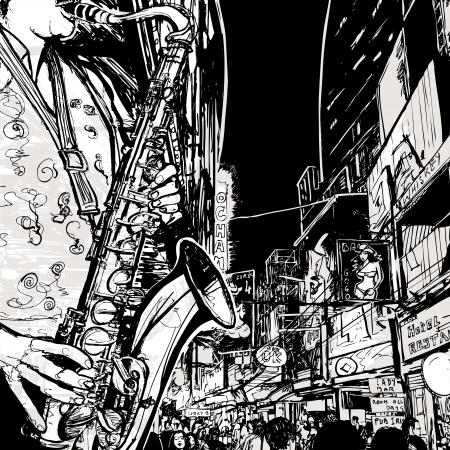 Illustration of a saxophonist playing saxophone in a street