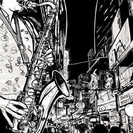 night bar: Ilustraci�n de un saxof�n tocando saxo en una calle