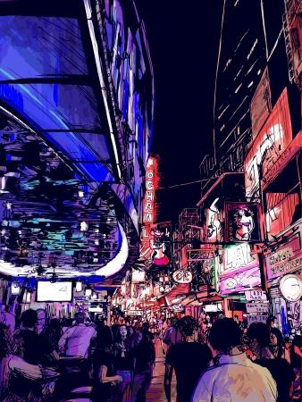 Illustration of nightlife in a street of Bangkok in Thailand