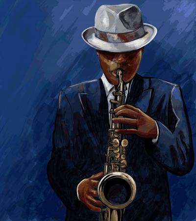 m�sico: Ilustraci�n del vector del saxofonista tocando el saxof�n en un fondo azul