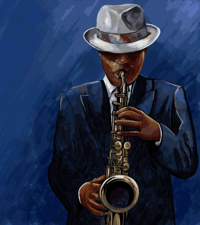 Vector illustration of saxophonist playing saxophone on a blue background
