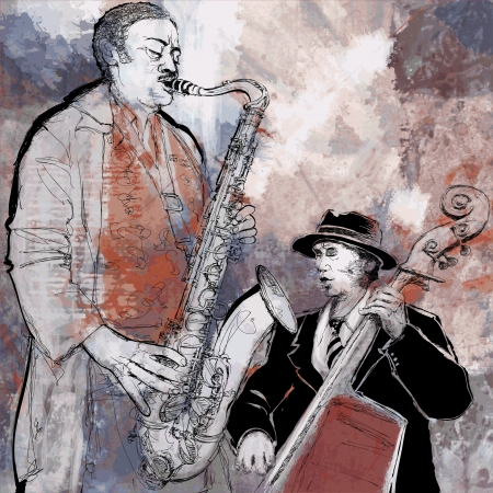 bass player: Vector illustration of a saxophonist and bassist playing jazz music with double-bass and saxophone Illustration