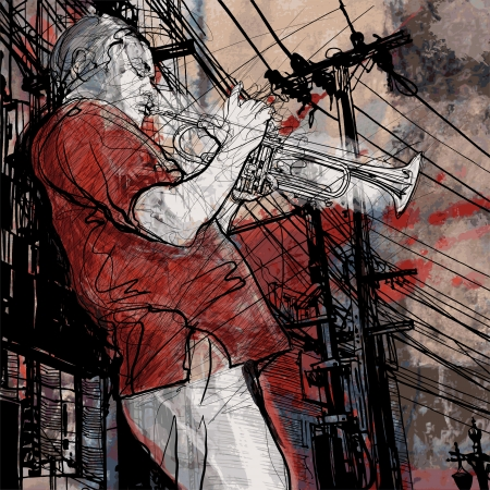 trompeta: Ilustración de un músico de jazz trumpet música en un paisaje urbano de fondo grunge