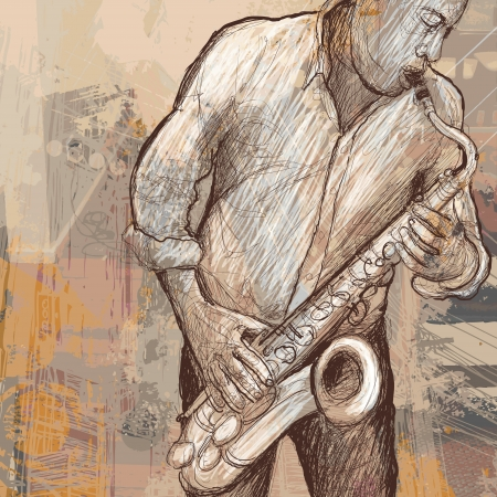 Vector illustration of a saxophonist playing saxophone on grunge background