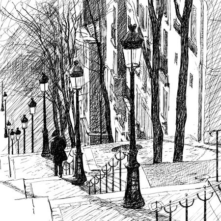 lampost: Vector illustration of a view of Montmartre in Paris