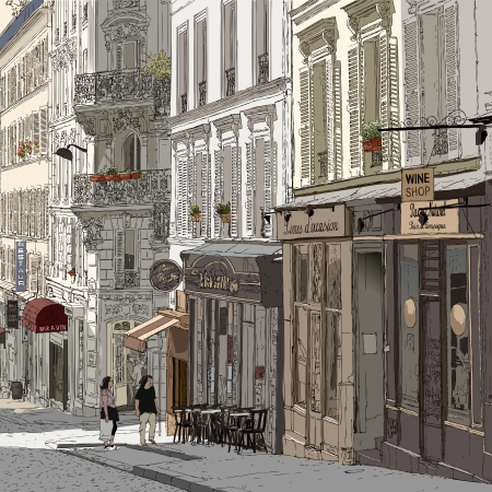 europe cities: illustration of a street in Montmartre Paris Illustration