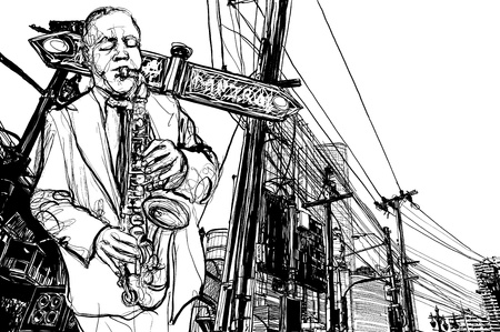 illustration of saxophonist playing saxophone  in a street  Vector