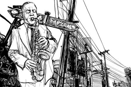 illustrazione di sassofono sassofonista giocando in una strada