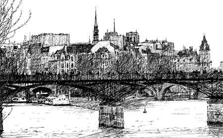 seine: illustration of a view of a bridge