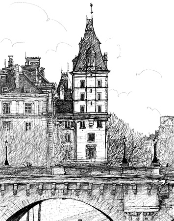 seine: Vector illustration of a  view from  Pont Neuf  in Paris Illustration