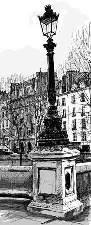 lampost: illustration of an old lampost in Paris