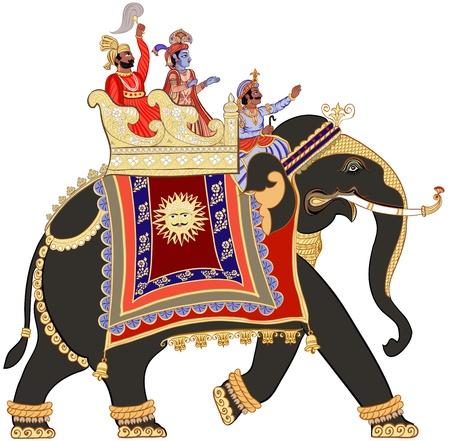 インド: 飾られたインド象のイラスト  イラスト・ベクター素材