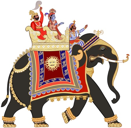 illustration of a decorated indian elephant Vector