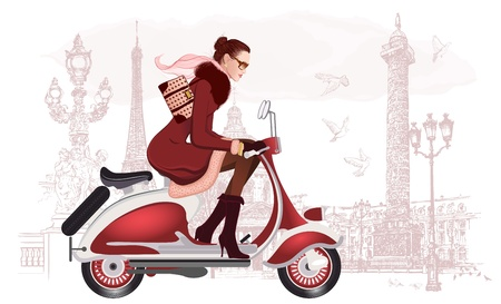 scooters: illustration of a woman riding a scooter
