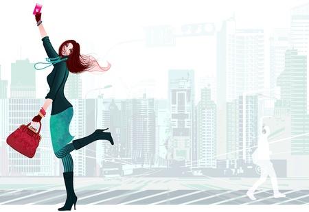 weitermachen: Vetor Darstellung einer jungen Frau gl�cklich mit ihrem neuen Smartphone Illustration